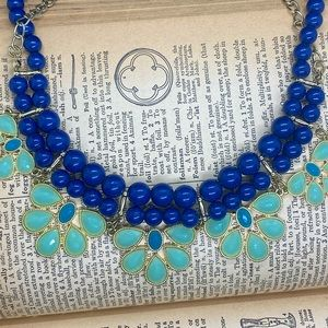 Vintage Mint Green, Teal and Royal Blue Necklace